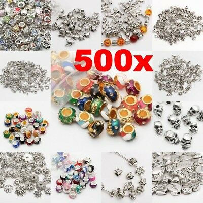 500Pcs Tibet Silver Beads Spacer For Jewelry Making European Bracelet