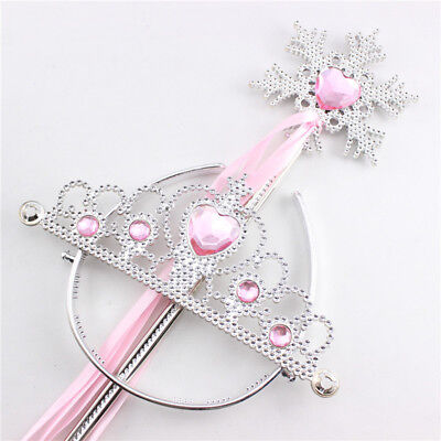 Kids Girls Princess Dress Up Crown Snowflake Wand Set for Girls Magic Cosplay ST