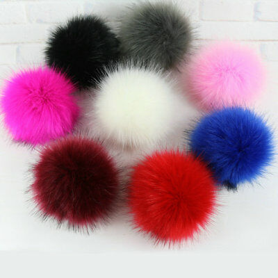 5inch Large Faux Raccoon Fur Pom Pom Ball Press Button for Knitting Hat DIY