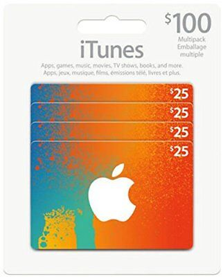 Canadian iTunes Cards $100 (4 X $25) Physical Card ~ FREE SHIPPING!