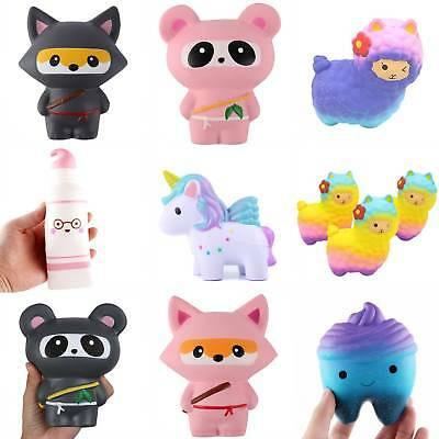 US Cute Squishy Squeeze Toy Jumbo Slow Rising Charms Ninja Cat Kids Toy Gifts