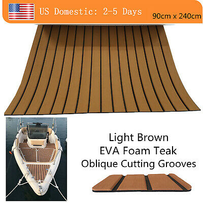"EVA Faux Teak Deck Sheet For Boat Yacht Marine Floor 94""×35"" Brown Bevel Design"