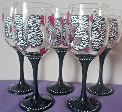 Zebra Wine glass Decorated Personalised Gift 18th 21st 30th 40th 50th 60th Any