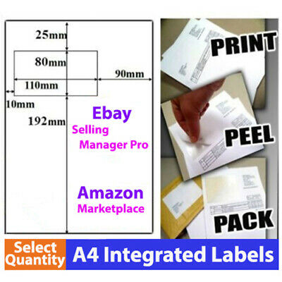 A4 Paper Sticker Integrated Address Label for eBay Manager Packing Slip printing