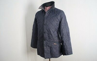 BARBOUR LIDDESDALE Quilted Jacket Mens Dark-Blue size S Good condition! M5-2C