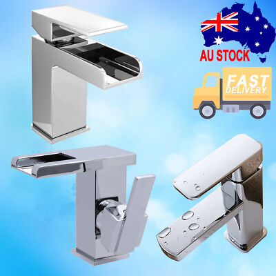 Chrome Square Sink Shower Basin Mixer Tap Kitchen Laundry Bathroom LED Waterfall