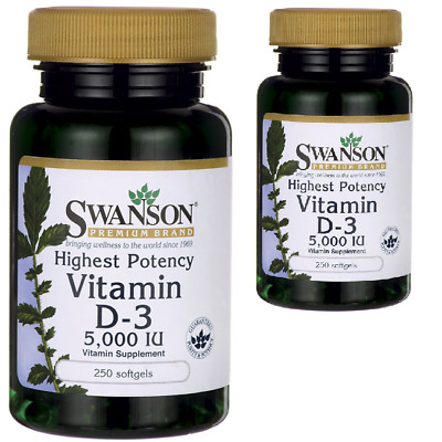 2X Swanson High Potency Vitamin D3 5,000iuX250 Highest Effect (x2=500softgels)