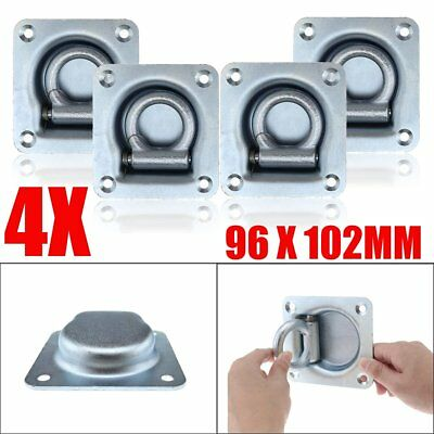 4X Recessed Lashing Ring Zinc Plated Tie Down Point Anchor UTE Trailer 102X96mm