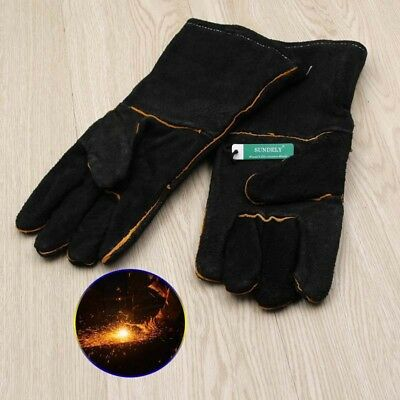 NEW HEAVY DUTY Wood Burner Welding Heat Resistant Leather Gloves Stoves Fire