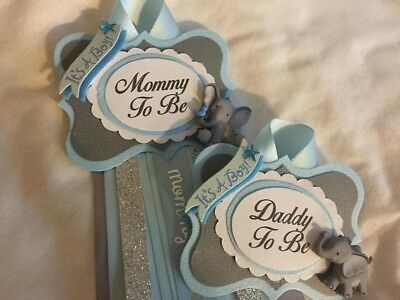 Mommy and Daddy to Be set, Elephant Blue Grey Silver Baby Shower Pin, Corsage,