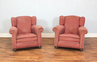 Pair Vintage Armchairs 1930`s Pink Upholstered, Art Deco, Lounge, Refurb