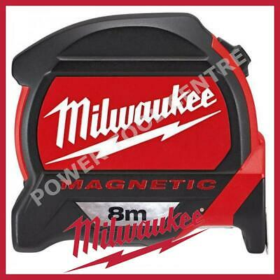 Milwaukee 4932464177 Pro Mag Tape 8m Tape Measure With Finger Stop - Red/Black