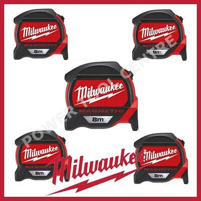 5x Milwaukee 4932464177 Pro Mag Tape 8m Tape Measure With Finger Stop Red Black