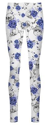 New Womens Skull Rose Print Full Length Skinny Stretch Pants Leggings 8-26