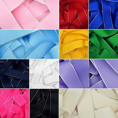 Silver Edged Grosgrain Ribbon in 12 Colours Hair Bows Craft 6mm 10mm 25mm 38mm