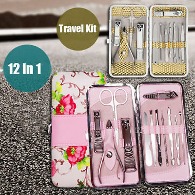 12/18PCS Stainless Steel Manicure Nail Kit Pedicure Grooming Clippers Tools