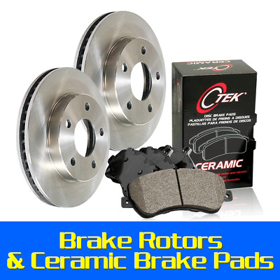 Legacy Front Blank Brake Rotors+Ceramic Brake Pads Fit 1997-1999 Subaru Impreza