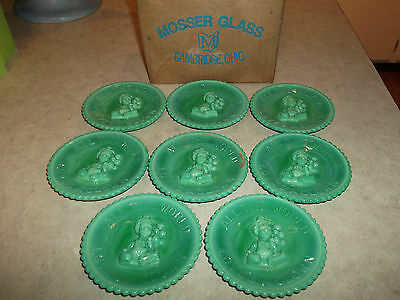 "8 Green Slag Mosser Plates Title"" All The World Loves A Clown. In Original Box"