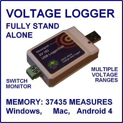 USB Voltage Data Logger Volt DC Recorder Switch Flash Memory Windows Mac Android