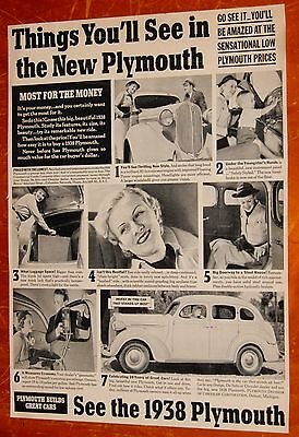 Neat 1938 Plymouth 4 Door Sedan With Happy Family Ad - Vintage 30S American Auto