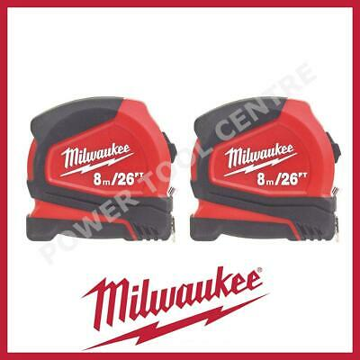 2x Milwaukee 4932459596 Compact Tape Measure 8m/26ft Jobsite Durable C8-26/25