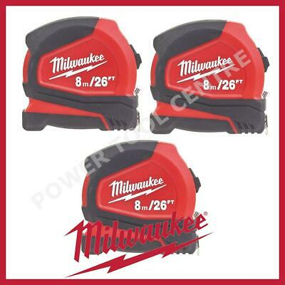 3x Milwaukee 4932459596 Compact Tape Measure 8m/26ft Jobsite Durable C8-26/25