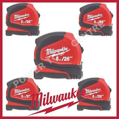 5x Milwaukee 4932459596 Compact Tape Measure 8m/26ft Jobsite Durable C8-26/25