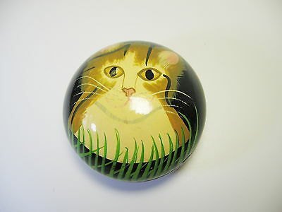 """Golden Cat Trinket Box Handpainted Wood from India Black Laquer 3"""""""