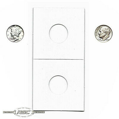 100 - 2x2 Cardboard Paper Coin Holder Mylar Flips for DIME