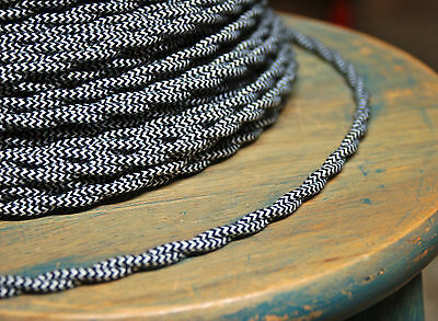 Cloth Covered Twisted Wire - Black/White Pattern, Fabric Lamp Cord Vintage Style