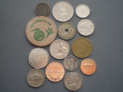Lot Of 14  Coins/tokens From Gramma's Sock Drawer