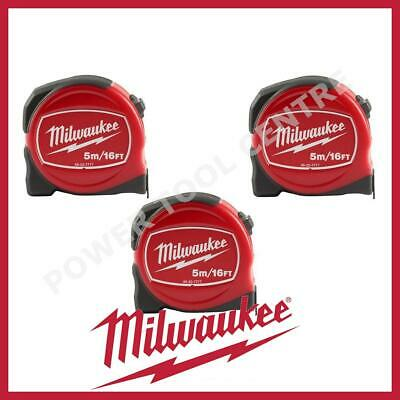 3x Milwaukee 48227717 Pro Compact Tape Measure 5m/16ft Jobsite Durable S5-16/25