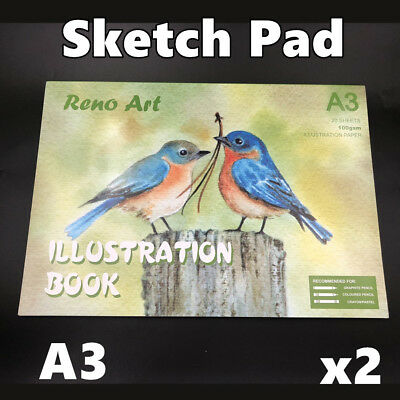 2 Packs A3 Sketch Pad Atrist Painting Drawing Art Paper illustration Book Craft