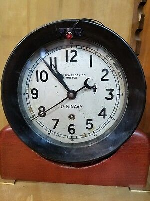 1942 Rare Chelsea Zig-Zag WW2 US Navy Ship's Clock Restored
