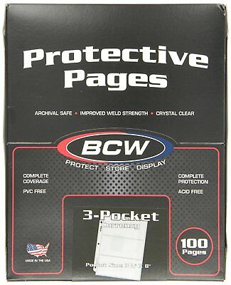 100 BCW 3-Pocket Currency Size Binder Pages, New, Free Shipping