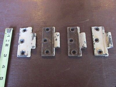 Vintage Lot 4 white 3x3 door hinges hardware cabinet architectural USA Victorian