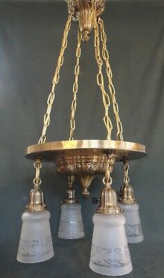 Antique Brass Chandelier - Works - Sheffield Style Hanging Light Fixture w Grape