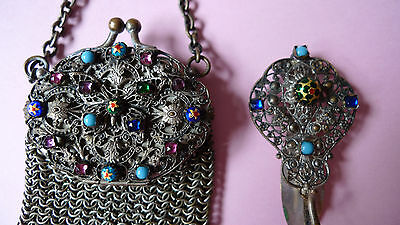 Antiguo Broche (Chatelaine) y monedero, Francia, chain mesh purse, France, 1890