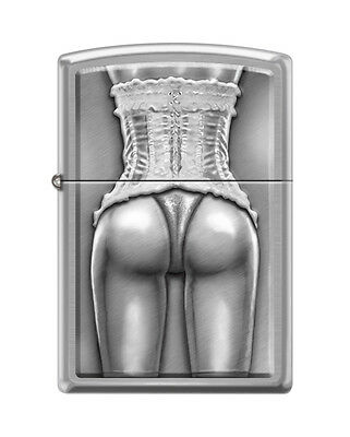 Zippo 2446, Sexy Woman in Corset, Brushed Chrome Finish Lighter, Full Size