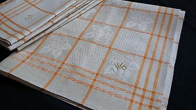 6x old unused linen kitchen Towels or rustic napkins yellow and flower pattern