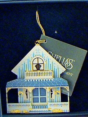 SHELIAS Metal Christmas Ornament BLUE COTTAGE Oak Bluff, Mass. Gingerbread Home