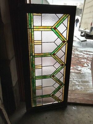 Sg 1842 Antique Y Design Deco Transom Window Stainglass 24 X 44.75