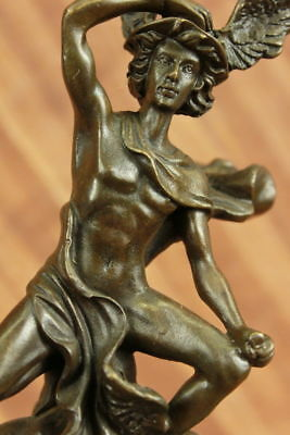 Hand Made Male Mercury Medical Caduceus Bronze Marble Statue Doctor RN Office
