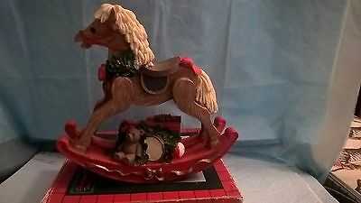 Christmas Treasures Poly Rocking Horse Hand Painted