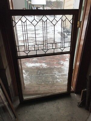 Sg 1847 Antique Leaded Glass Window With Full View Bottom 34.5 X 54 H