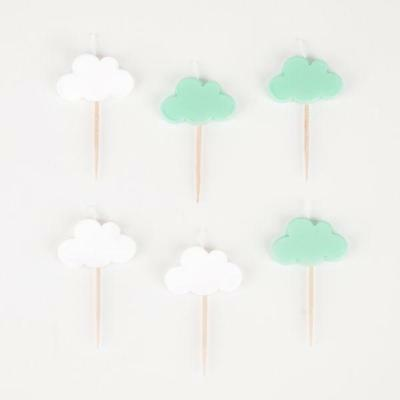 6 Aqua Mint Green & White Cloud Baby Shower Birthday Party Cake Topper Candles
