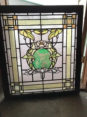 Sg 1852 Antique Rudy Brothers Floral Stainglass Landing Window 34 X 38h