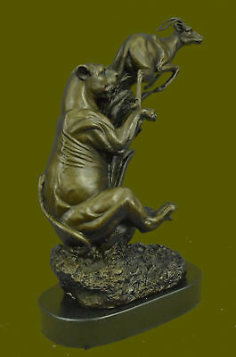 Collectible Bronze Sculpture Mountain Lion Vs Gazelle Wildlife Classic Masterpie