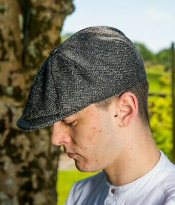 306b1b31f SCHOLAR HAT TWEED Flat Cap 8 Piece Charcoal Herringbone Irish Made by John  Hanly
