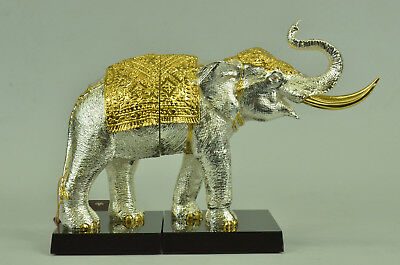 24K Gold Plated Dressed With Trunk Up Lucky Happy Elephant Figurine Figure Home